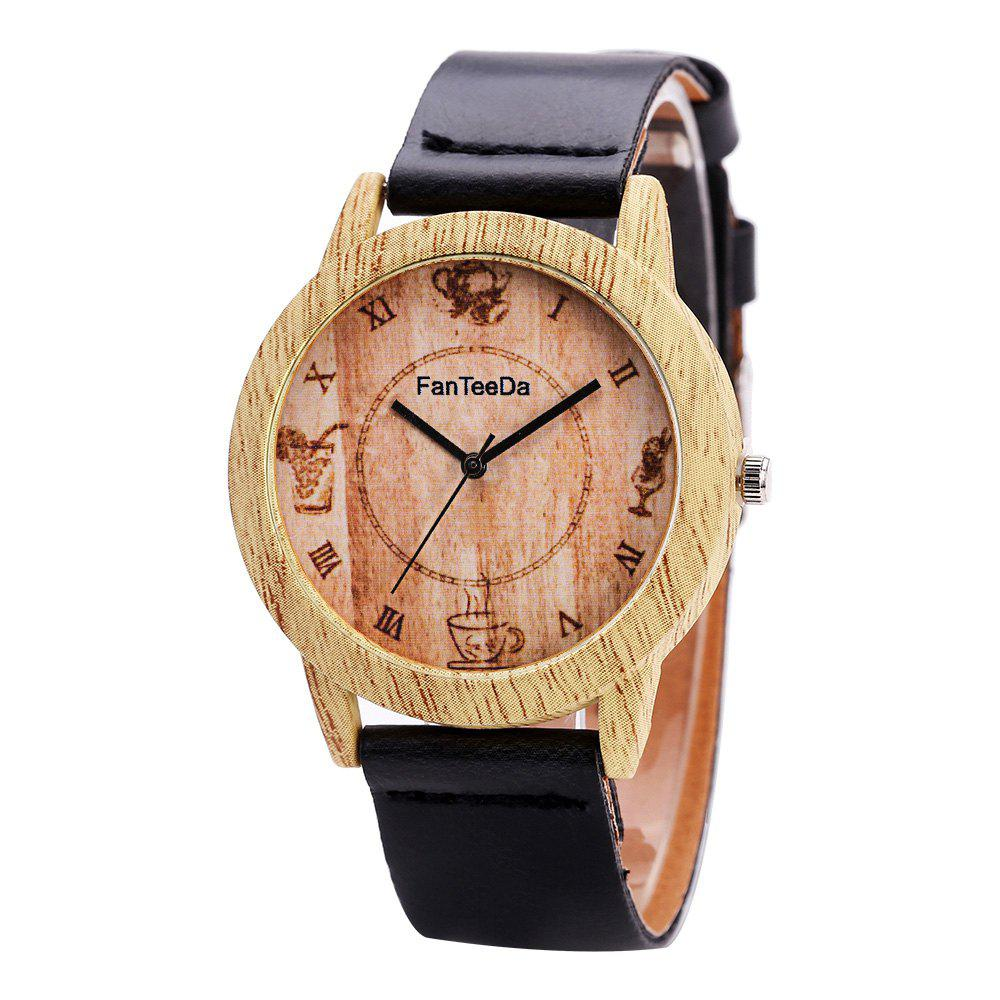 Fanteeda FD075 Unisex Fashion Wooden Case PU Band Quartz Watch - BLACK