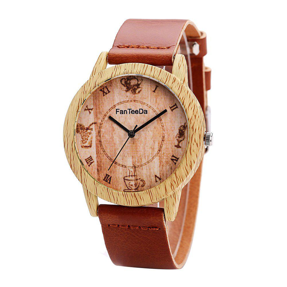 Fanteeda FD075 Unisex Fashion Wooden Case PU Band Quartz Watch - BROWN