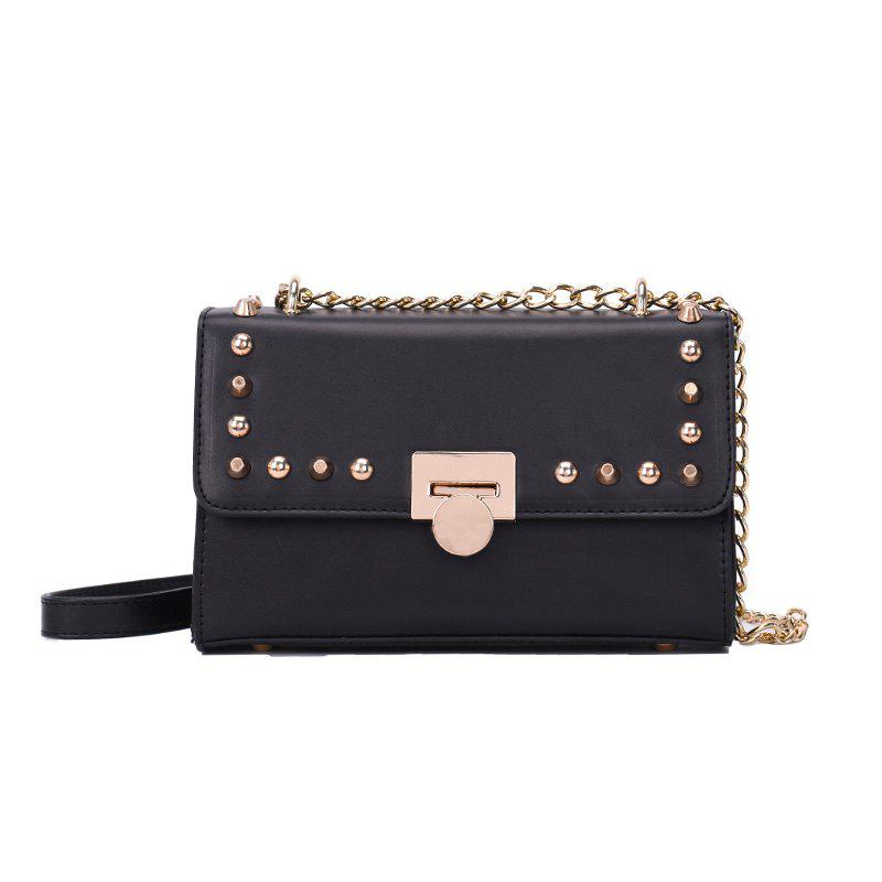 Fashion Trend Rivet Chain Shoulder Messenger Lock Small Square Bag - BLACK