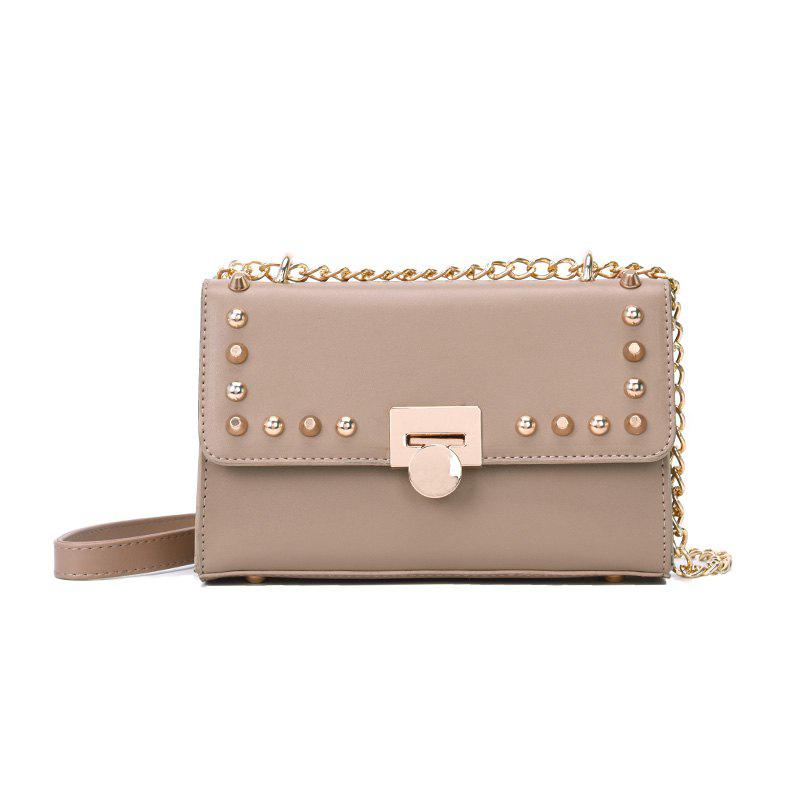 Fashion Trend Rivet Chain Shoulder Messenger Lock Small Square Bag - KHAKI