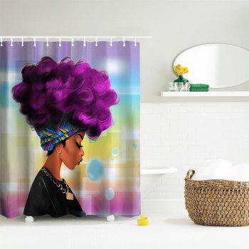 Purple Hair Girl Polyester Shower Curtain Bathroom  High Definition 3D Printing Water-Proof - COLORMIX W59 INCH * L71 INCH