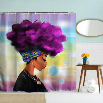 Purple Hair Girl Polyester Shower Curtain Bathroom  High Definition 3D Printing Water-Proof - COLORMIX W71 INCH * L79 INCH