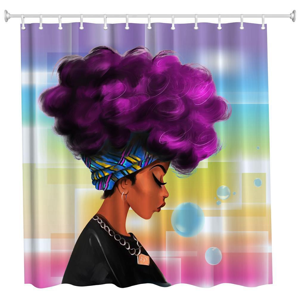 Purple Hair Girl Polyester Shower Curtain Bathroom  High Definition 3D Printing Water-Proof - COLORMIX W71 INCH * L71 INCH