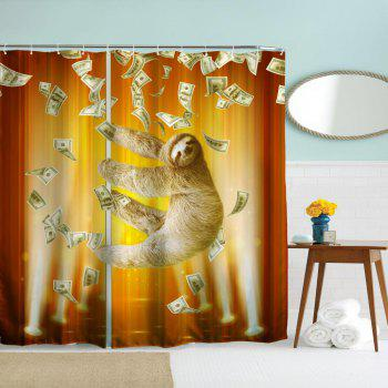 Pipe Sloth Polyester Shower Curtain Bathroom  High Definition 3D Printing Water-Proof - COLORMIX W71 INCH * L79 INCH