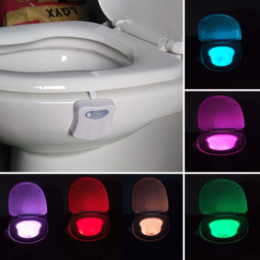 Smart Bathroom Toilet Night Light LED Motion Activated On/Off Seat Sensor Lamp 8 Color LED Toilet Lamp - WHITE