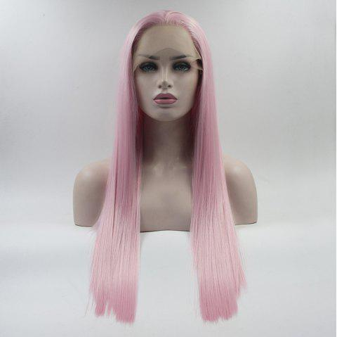 Color Pink Long Straight Heat Resistant Synthetic Hair Lace Front Wigs for Women - PINK 18INCH
