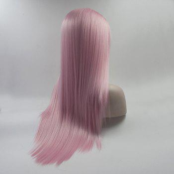 Color Pink Long Straight Heat Resistant Synthetic Hair Lace Front Wigs for Women - PINK 24INCH