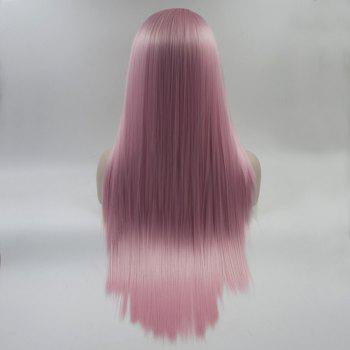 Color Pink Long Straight Heat Resistant Synthetic Hair Lace Front Wigs for Women - PINK 20INCH
