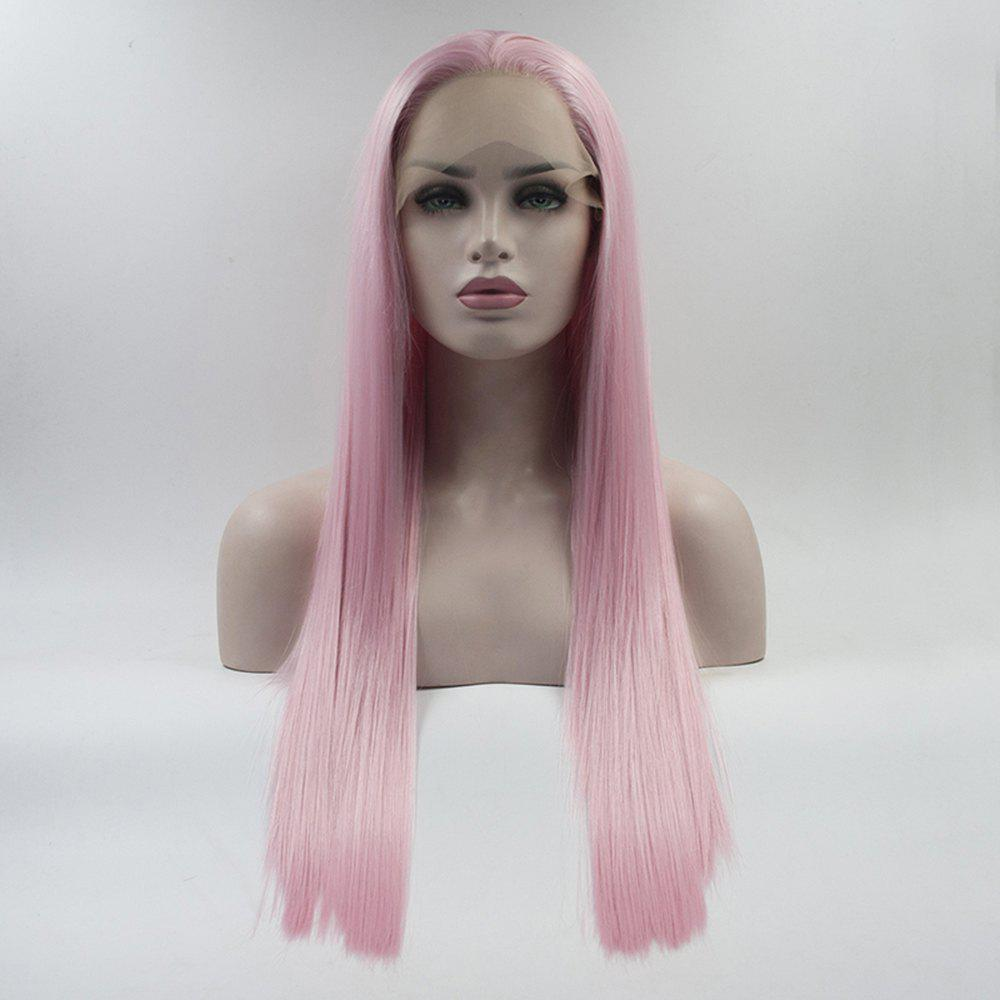 Color Pink Long Straight Heat Resistant Synthetic Hair Lace Front Wigs for Women - PINK 22INCH