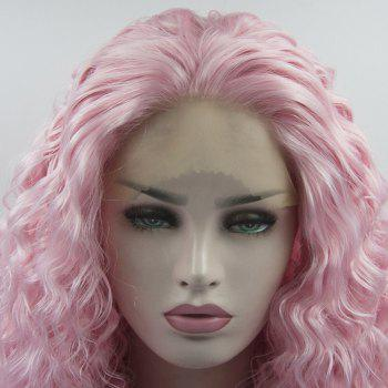 Pink Curly Style Long Hair Heat Resistant Synthetic Lace Front Wigs for Women - PINK 18INCH