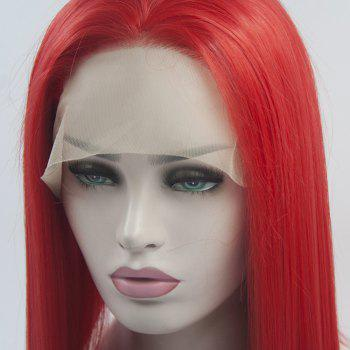 Silk Straight Long Red Color Heat Resistant Synthetic Hair Lace Front Wigs for Women - RED 24INCH
