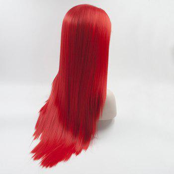 Silk Straight Long Red Color Heat Resistant Synthetic Hair Lace Front Wigs for Women - RED 18INCH
