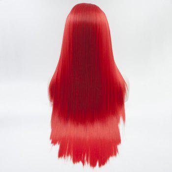 Silk Straight Long Red Color Heat Resistant Synthetic Hair Lace Front Wigs for Women - RED 16INCH
