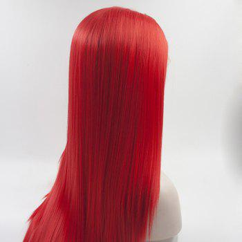 Silk Straight Long Red Color Heat Resistant Synthetic Hair Lace Front Wigs for Women - RED 14INCH