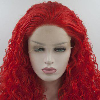 Long Curly Red Color Heat Resistant Synthetic Hair Lace Front Wigs for Women - RED 24INCH