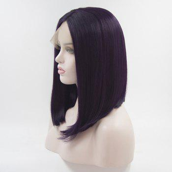 Bob Style Purple Color Haet Resistant Synthetic Hair Lace Front Wigs for Women - PURPLE 12INCH