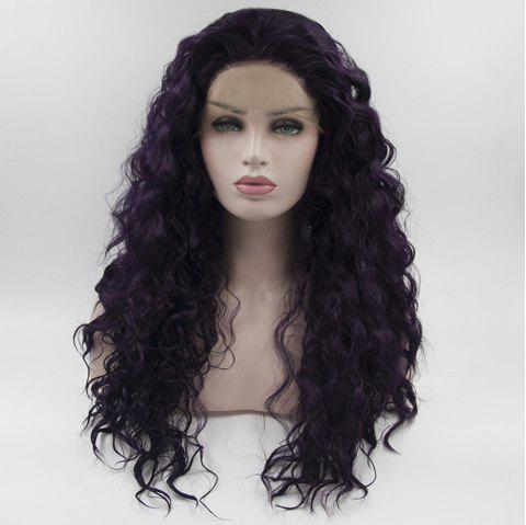Long Hair Purple Color Curly Wavy Style Heat Resisstant Synthetic Hair Lace Front Wigs for Women - PURPLE 18INCH