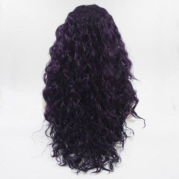 Long Hair Purple Color Curly Wavy Style Heat Resisstant Synthetic Hair Lace Front Wigs for Women - PURPLE 24INCH