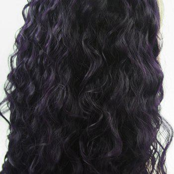 Long Hair Purple Color Curly Wavy Style Heat Resisstant Synthetic Hair Lace Front Wigs for Women - PURPLE 20INCH