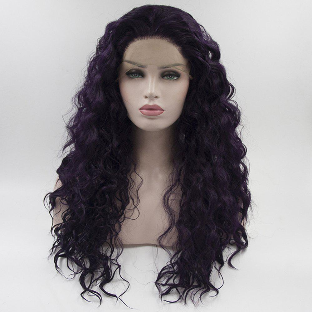 Long Hair Purple Color Curly Wavy Style Heat Resisstant Synthetic Hair Lace Front Wigs for Women - PURPLE 16INCH