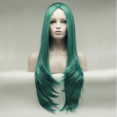 Natural Wavy Style Green Color Long Hair Heat Resistant Synthetic Lace Front Wigs for Women - GREEN 16INCH