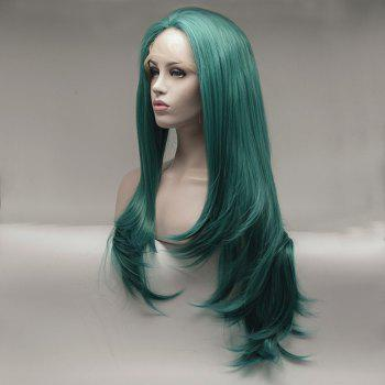 Natural Wavy Style Green Color Long Hair Heat Resistant Synthetic Lace Front Wigs for Women - GREEN 24INCH