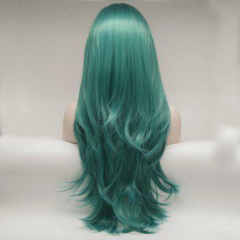 Natural Wavy Style Green Color Long Hair Heat Resistant Synthetic Lace Front Wigs for Women - GREEN 22INCH