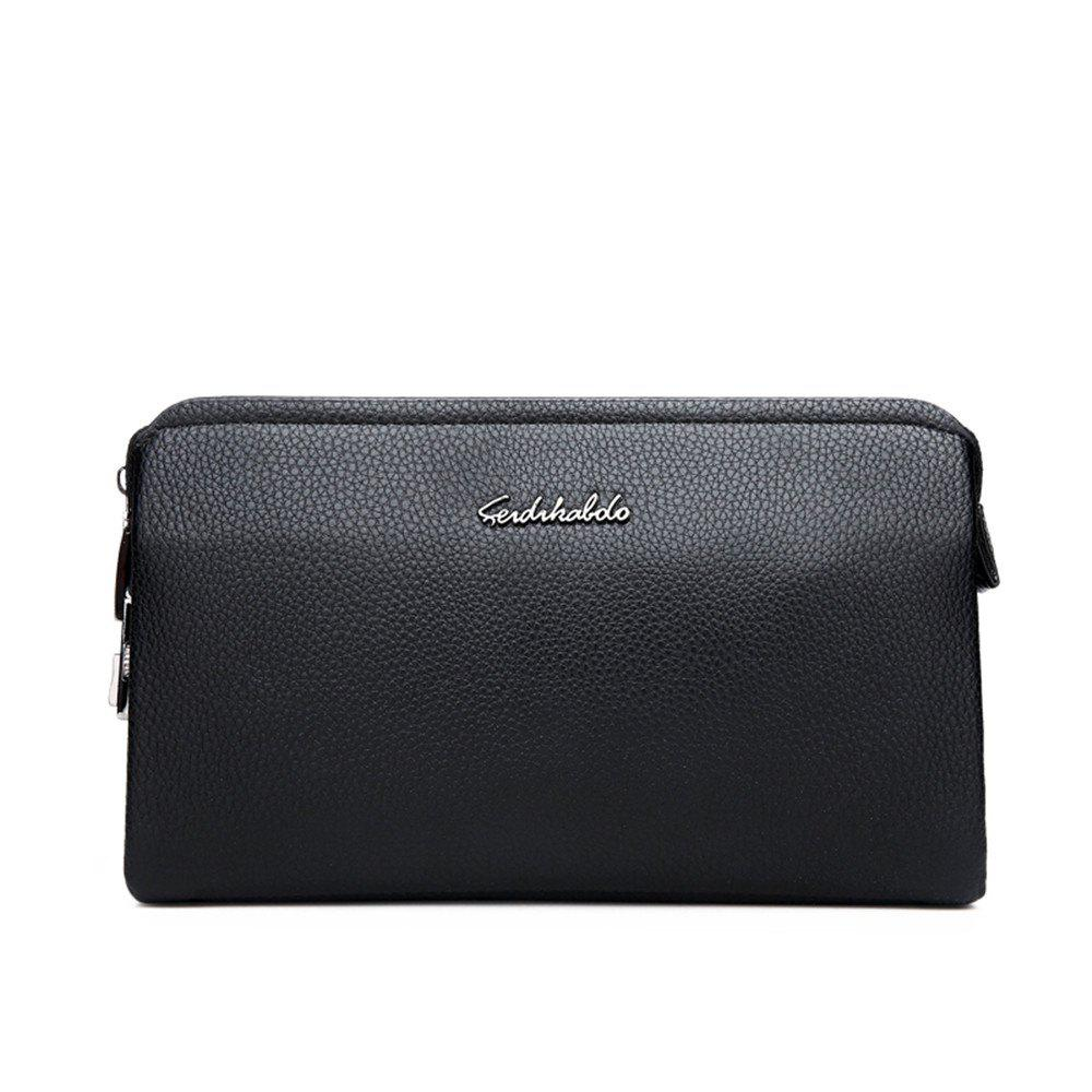 Handbags Large Capacity Soft Leather Clutch Bag Business Folder Wallet - BLACK