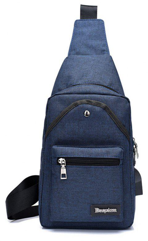 Shoulder Sports Small Breasts Fashion Outdoor Men's Bags Headphone Hole Travel Pouch - CERULEAN