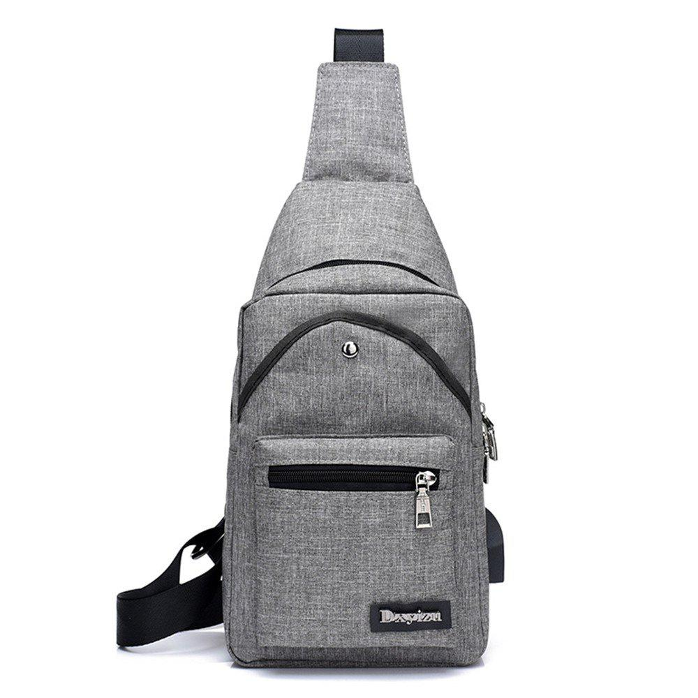 Shoulder Sports Small Breasts Fashion Outdoor Men's Bags Headphone Hole Travel Pouch - LIGHT GRAY