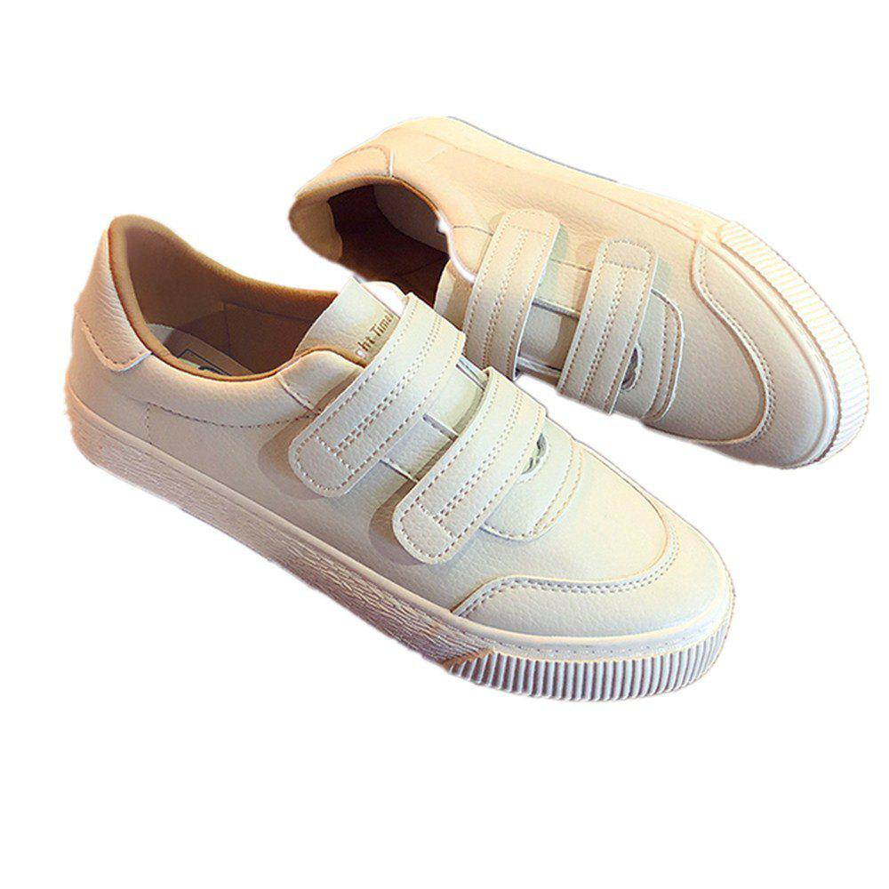 Velcro Harajuku Breathable Shoes - BEIGE 35