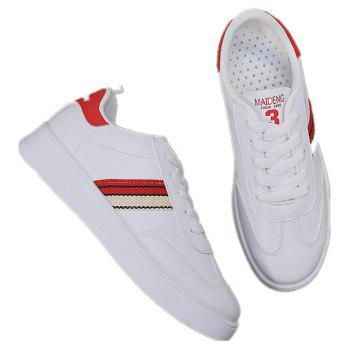 The New Spring All-Match Student Leather Fresh Art Leisure Shoes - RED 35