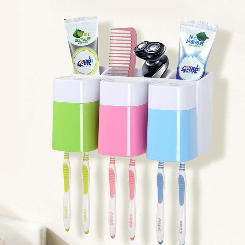 Creative Sucker Toothbrush Holder Mouthwash Set for Three People - multicolor A 23.4X11.8X12.4CM