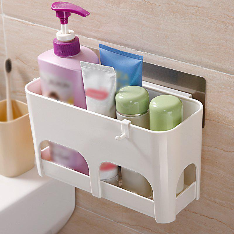 Multi-Functional Non-Trace Paste Kitchen Bathroom Drain Storage Rack Wall - WHITE 25X14X11.1CM