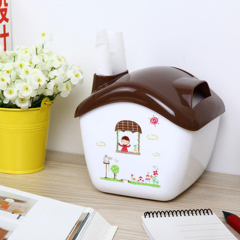 Creative Candy House Tissue Box Can Do The Storage Box Phone Holder - BROWN 14.5X13.5X12.3CM