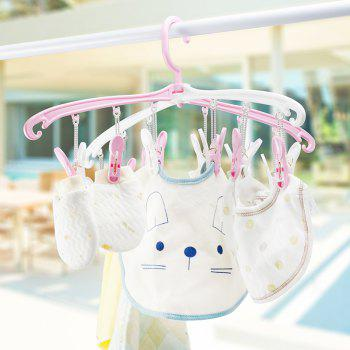 12 Clips Rotated Collapsible Portable Underwear Socks Baby Clothes Drying Rack - PINK 46X22.2X3CM