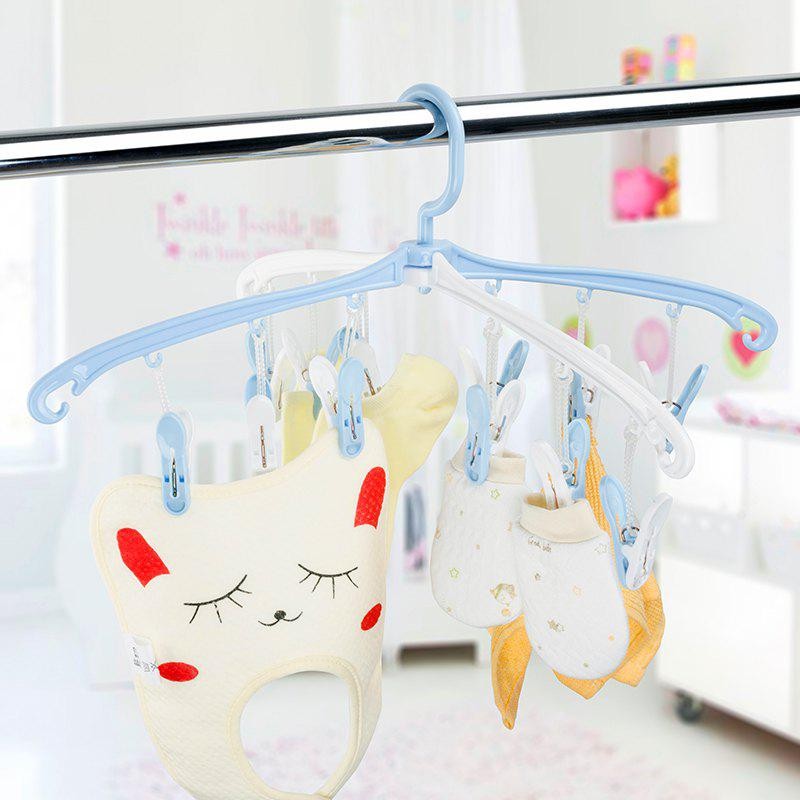 12 Clips Rotated Collapsible Portable Underwear Socks Baby Clothes Drying Rack - BLUE 46X22.2X3CM