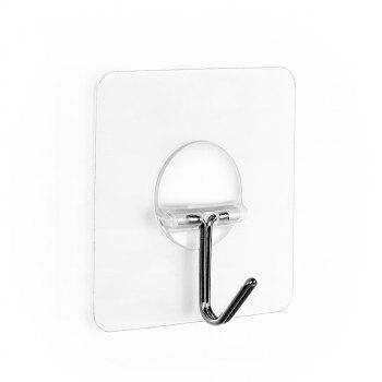 Four Loaded Simple Transparent Sticky Hook Door After The Punch-Free - TRANSPARENT 6X6X1.7CM