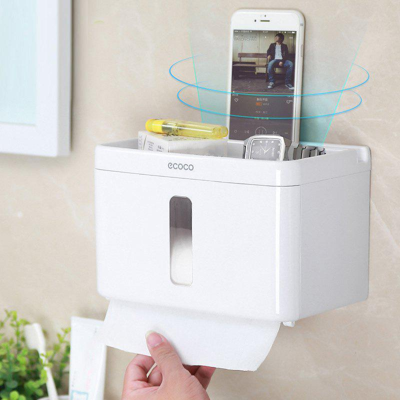 Bathroom Toilet Paper Shelf Free Punch Suction Wall Tissue Box - WHITE 22X13.4X14CM