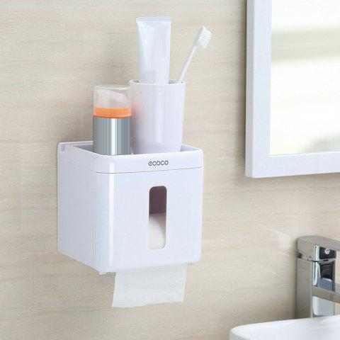 Toilet Paper Towel Storage Box Punch-Free Reel Multi-Purpose Racks - WHITE 14.5X13.4X14.3CM