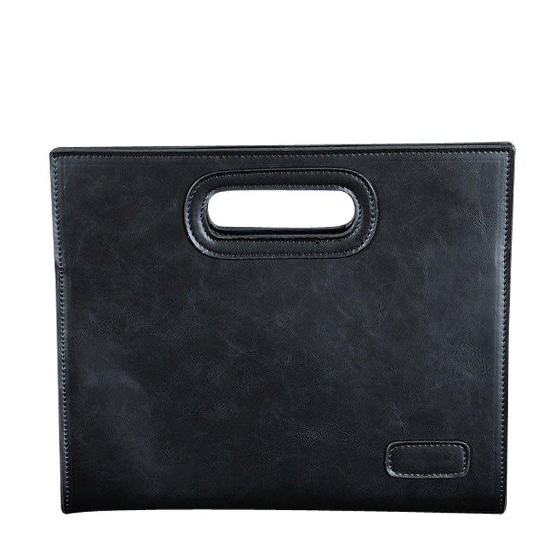 Men's Handbag Fashion Portable Business Messenger Bag Crazy Horse Casual Vintage Bag Clutch - BLACK