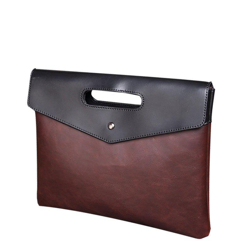 New Men's Handbag Fashion Contrast Color Bag Clutch for Men with Wristlet - MOCHA