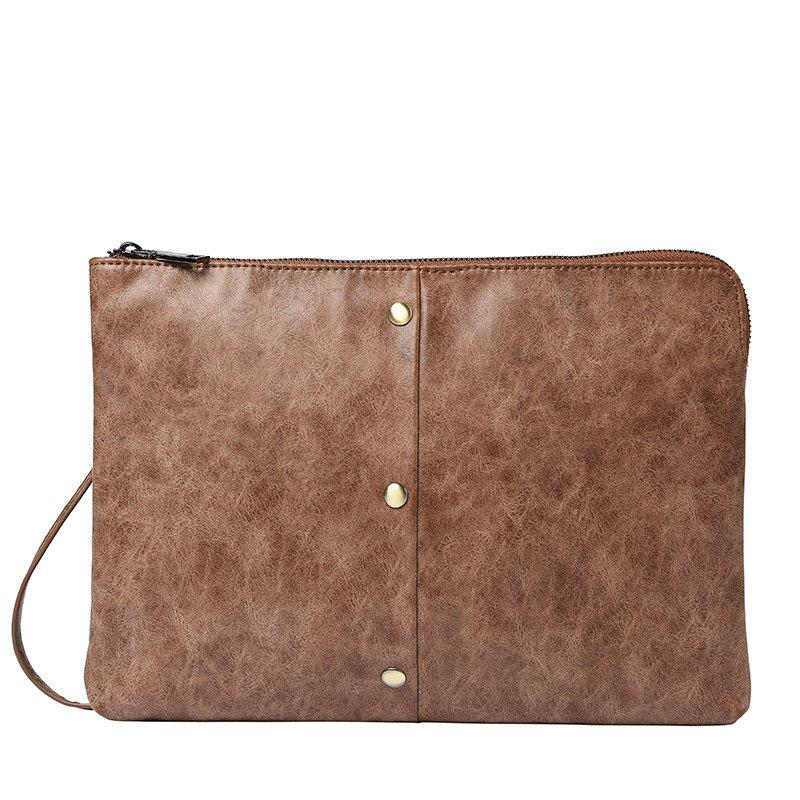 Crazy Horse Leather Business Casual Hand Caught Bag Korean Messenger Bag Clutch for iPad - MOCHA