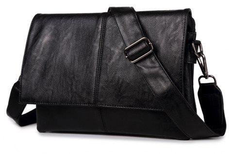 New Men's Leather Crossbody Bag Business Casual Messenger Handbag - BLACK