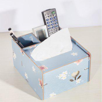 Wooden Multipurpose Storage Box Remote Control Paper Towels Home Living Room Coffee Table Creative Decoration - BLUE