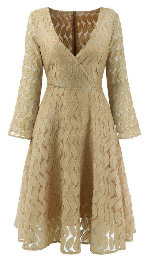 Women Spring Hollow Out V-Neck Lace Sexy Party Dresses - APRICOT S