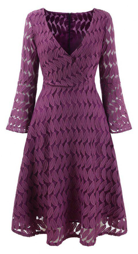 Women Spring Hollow Out V-Neck Lace Sexy Party Dresses - PURPLE M