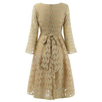 Women Spring Hollow Out V-Neck Lace Sexy Party Dresses - APRICOT XL