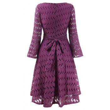 Women Spring Hollow Out V-Neck Lace Sexy Party Dresses - PURPLE L