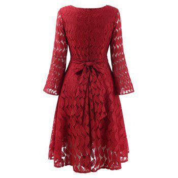 Women Spring Hollow Out V-Neck Lace Sexy Party Dresses - WINE RED M